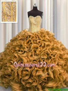 Visible Boning Gold Sleeveless Organza Lace Up Sweet 16 Dress forMilitary Ball and Sweet 16 and Quinceanera