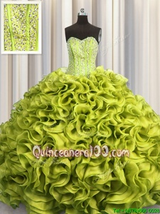 Elegant Visible Boning Organza Sweetheart Sleeveless Lace Up Beading and Ruffles Quince Ball Gowns inYellow Green