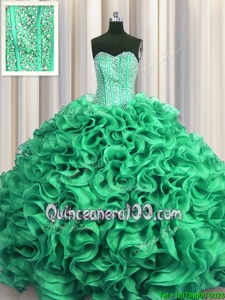 Sexy Visible Boning Sweetheart Sleeveless Organza Quinceanera Gown Beading and Ruffles Lace Up