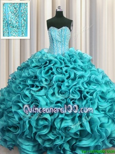 Inexpensive Visible Boning Aqua Blue Sleeveless Beading and Ruffles Floor Length Quinceanera Dress