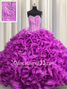 Lovely Visible Boning Sweetheart Sleeveless Lace Up Quinceanera Dresses Fuchsia Organza
