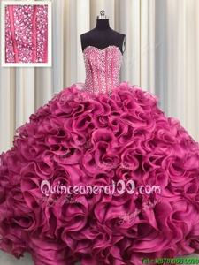 Fabulous Visible Boning Hot Pink Ball Gowns Beading and Ruffles 15th Birthday Dress Lace Up Organza Sleeveless Floor Length