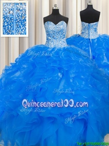 Glamorous Visible Boning Beaded Bodice Blue Lace Up Quinceanera Dress Beading and Ruffles Sleeveless Floor Length
