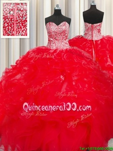High Quality Visible Boning Beaded Bodice Red Quince Ball Gowns Military Ball and Sweet 16 and Quinceanera and For withBeading and Ruffles Sweetheart Sleeveless Lace Up