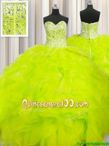 Pretty Visible Boning Beaded Bodice Ball Gowns Sweet 16 Dresses Yellow Sweetheart Organza Sleeveless Floor Length Lace Up