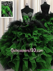 Customized Sweetheart Sleeveless Ball Gown Prom Dress Floor Length Beading and Ruffles Multi-color Organza and Tulle
