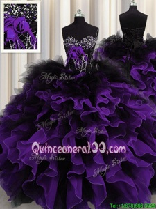 Graceful Black And Purple Organza and Tulle Lace Up Sweetheart Sleeveless Floor Length Vestidos de Quinceanera Beading and Ruffles