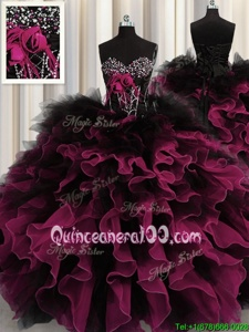 Glittering Red And Black Ball Gowns Organza and Tulle Sweetheart Sleeveless Beading and Ruffles Floor Length Lace Up Ball Gown Prom Dress