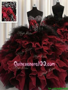 Beautiful Sleeveless Lace Up Floor Length Beading and Ruffles Quinceanera Gown