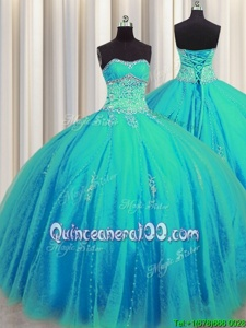 Amazing Big Puffy Aqua Blue Sweetheart Lace Up Beading and Appliques 15 Quinceanera Dress Sleeveless