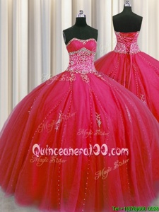 Designer Big Puffy Floor Length Red Ball Gown Prom Dress Tulle Sleeveless Spring and Summer and Fall and Winter Beading and Appliques