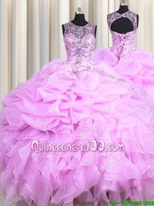 Beauteous See Through Ball Gowns Quinceanera Gown Lilac Scoop Organza Sleeveless Floor Length Lace Up