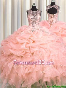 Superior See Through Peach Vestidos de Quinceanera Military Ball and Sweet 16 and Quinceanera and For withBeading and Ruffles and Pick Ups Scoop Sleeveless Lace Up
