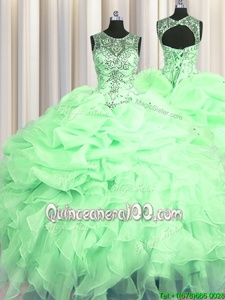 Stunning See Through Apple Green Ball Gowns Scoop Sleeveless Organza Floor Length Lace Up Beading and Ruffles and Pick Ups 15 Quinceanera Dress