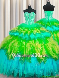 Beauteous Bling-bling Visible Boning Multi-color 15th Birthday Dress Military Ball and Sweet 16 and Quinceanera and For withBeading and Ruffles and Ruffled Layers and Sequins Sweetheart Sleeveless Lace Up