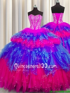 Sophisticated Bling-bling Visible Boning Floor Length Lace Up Sweet 16 Quinceanera Dress Multi-color and In forMilitary Ball and Sweet 16 and Quinceanera withBeading and Ruffles and Ruffled Layers and Sequins