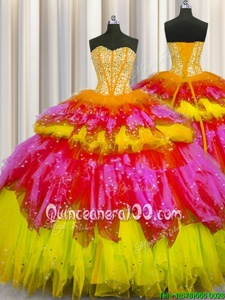Shining Bling-bling Visible Boning Multi-color Sleeveless Beading and Ruffles and Ruffled Layers and Sequins Floor Length Sweet 16 Quinceanera Dress
