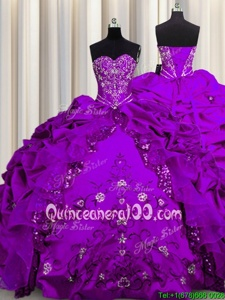 Free and Easy Sequins Sleeveless Taffeta Floor Length Lace Up Vestidos de Quinceanera inPurple forSpring and Summer and Fall and Winter withBeading and Embroidery and Ruffles