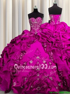 Superior Sequins Fuchsia Sleeveless Floor Length Beading and Embroidery and Ruffles Lace Up Sweet 16 Dress