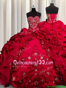 Excellent Embroidery Sequins Red Ball Gowns Sweetheart Sleeveless Taffeta Floor Length Lace Up Beading and Appliques and Ruffles Quinceanera Dresses