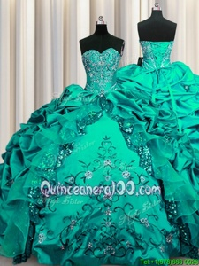 Sweet Sequins Embroidery Floor Length Ball Gowns Sleeveless Aqua Blue Sweet 16 Quinceanera Dress Lace Up