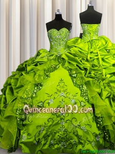 Floor Length Olive Green Quinceanera Dresses Taffeta Sleeveless Spring and Summer and Fall and Winter Beading and Embroidery and Ruffles and Sequins and Pick Ups