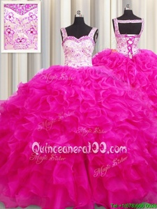 Dazzling Fuchsia Sleeveless Organza Lace Up Ball Gown Prom Dress forMilitary Ball and Sweet 16 and Quinceanera