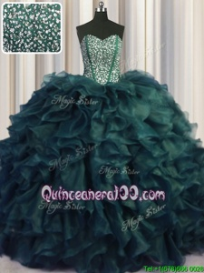 Shining Visible Boning Bling-bling Sleeveless Organza With Brush Train Lace Up Sweet 16 Quinceanera Dress inPeacock Green forSpring and Summer and Fall and Winter withBeading and Ruffles
