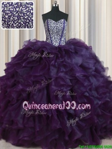 Sumptuous Visible Boning Bling-bling With Train Eggplant Purple 15th Birthday Dress Organza Brush Train Sleeveless Spring and Summer and Fall and Winter Beading and Ruffles
