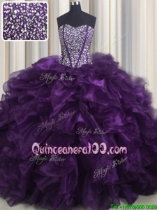 Perfect Bling-bling Sweetheart Sleeveless Organza Sweet 16 Dresses Beading and Ruffles Brush Train Lace Up