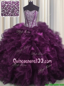 Suitable Visible Boning Eggplant Purple Sweetheart Lace Up Beading and Ruffles Ball Gown Prom Dress Brush Train Sleeveless