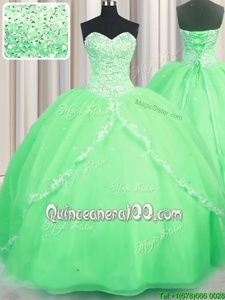 Romantic Sleeveless With Train Beading and Appliques Lace Up Ball Gown Prom Dress with Spring Green Brush Train