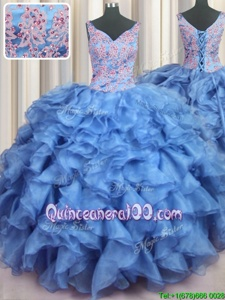 Noble Ruffled V Neck Floor Length Ball Gowns Sleeveless Baby Blue Quinceanera Dresses Lace Up