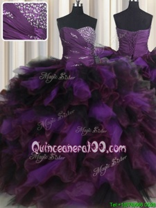 Custom Designed Purple Ball Gowns Organza and Tulle Sweetheart Sleeveless Beading and Ruffles and Ruffled Layers Floor Length Lace Up 15 Quinceanera Dress
