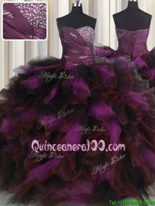 Pretty Sweetheart Sleeveless Organza and Tulle Vestidos de Quinceanera Beading and Ruffles and Ruffled Layers Lace Up
