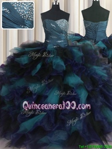 Super Multi-color Ball Gowns Sweetheart Sleeveless Organza and Tulle Floor Length Lace Up Beading and Ruffles 15th Birthday Dress