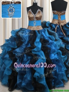 Fashion Leopard Two Tone V Neck Organza and Printed V-neck Sleeveless Lace Up Beading and Ruffles Sweet 16 Quinceanera Dress inBlue And Black