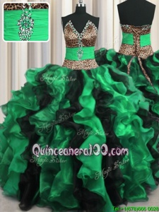 Enchanting Leopard Two Tone V Neck Floor Length Ball Gowns Sleeveless Multi-color Sweet 16 Quinceanera Dress Lace Up