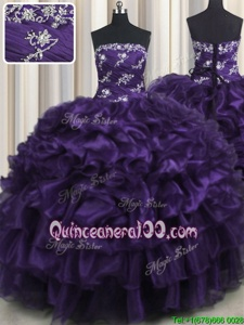 Traditional Purple Sweet 16 Dress Military Ball and Sweet 16 and Quinceanera and For withAppliques and Ruffles and Ruffled Layers Strapless Sleeveless Lace Up