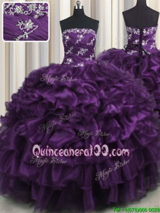 Nice Purple Sleeveless Appliques and Ruffles and Ruffled Layers Floor Length Quinceanera Gowns