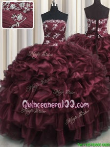 Chic Floor Length Lace Up Sweet 16 Dresses Wine Red and In forMilitary Ball and Sweet 16 and Quinceanera withAppliques and Ruffles and Ruffled Layers