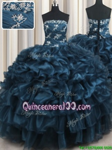 Admirable Ruffled Layers Strapless Sleeveless Lace Up 15 Quinceanera Dress Navy Blue Organza