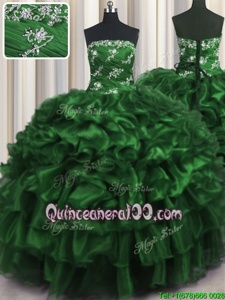 Pretty Dark Green Sleeveless Appliques and Ruffles and Ruffled Layers Floor Length Vestidos de Quinceanera