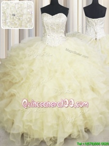 Wonderful Light Yellow Organza Lace Up Sweetheart Sleeveless Floor Length Sweet 16 Quinceanera Dress Beading and Ruffles