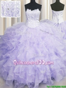 Pretty Lavender Scalloped Neckline Beading and Ruffles Sweet 16 Dresses Sleeveless Lace Up