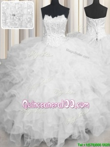 High End Ball Gowns Vestidos de Quinceanera White Scalloped Organza Sleeveless Floor Length Lace Up