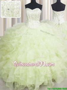 Simple Champagne Ball Gowns Organza Sweetheart Sleeveless Beading and Ruffles Floor Length Lace Up Vestidos de Quinceanera
