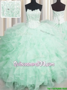 High Class Scalloped Visible Boning Apple Green Sleeveless Organza Lace Up Vestidos de Quinceanera forMilitary Ball and Sweet 16 and Quinceanera
