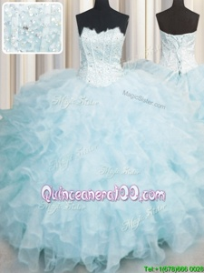 Stylish Scalloped Sleeveless Quinceanera Dresses Floor Length Ruffles Baby Blue Organza