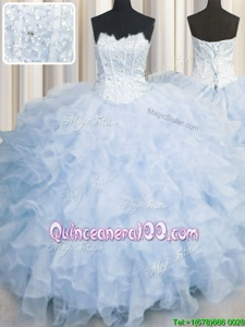 High Quality Scalloped Floor Length Ball Gowns Sleeveless Lavender Quinceanera Gowns Lace Up